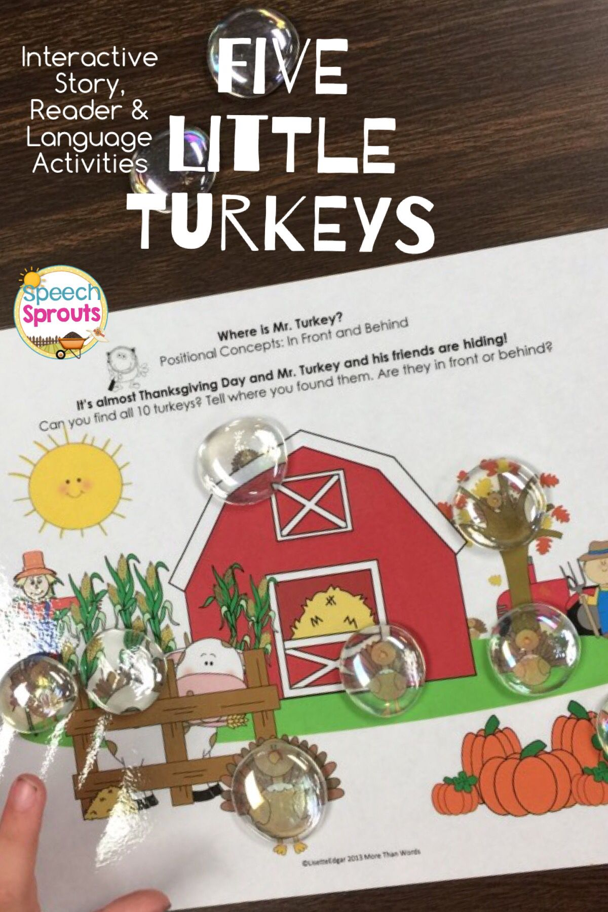 Five Little Turkeys Thanksgiving Speech Therapy Activities