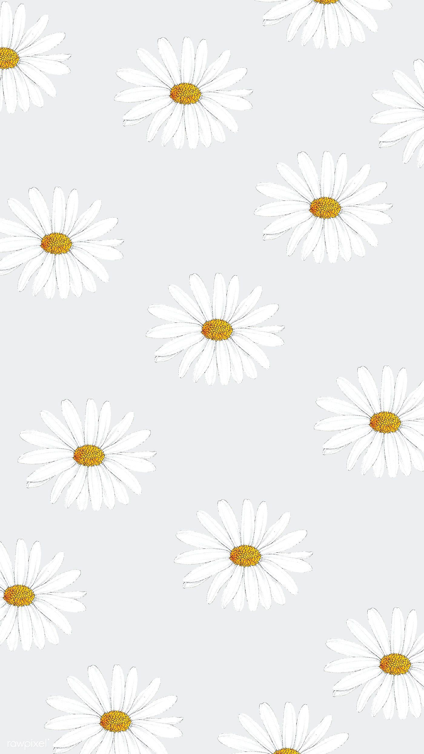 Download Premium Illustration Of Hand Drawn White Flower Patterned Mobile Daisy Wallpaper White Flowers Cute Patterns Wallpaper