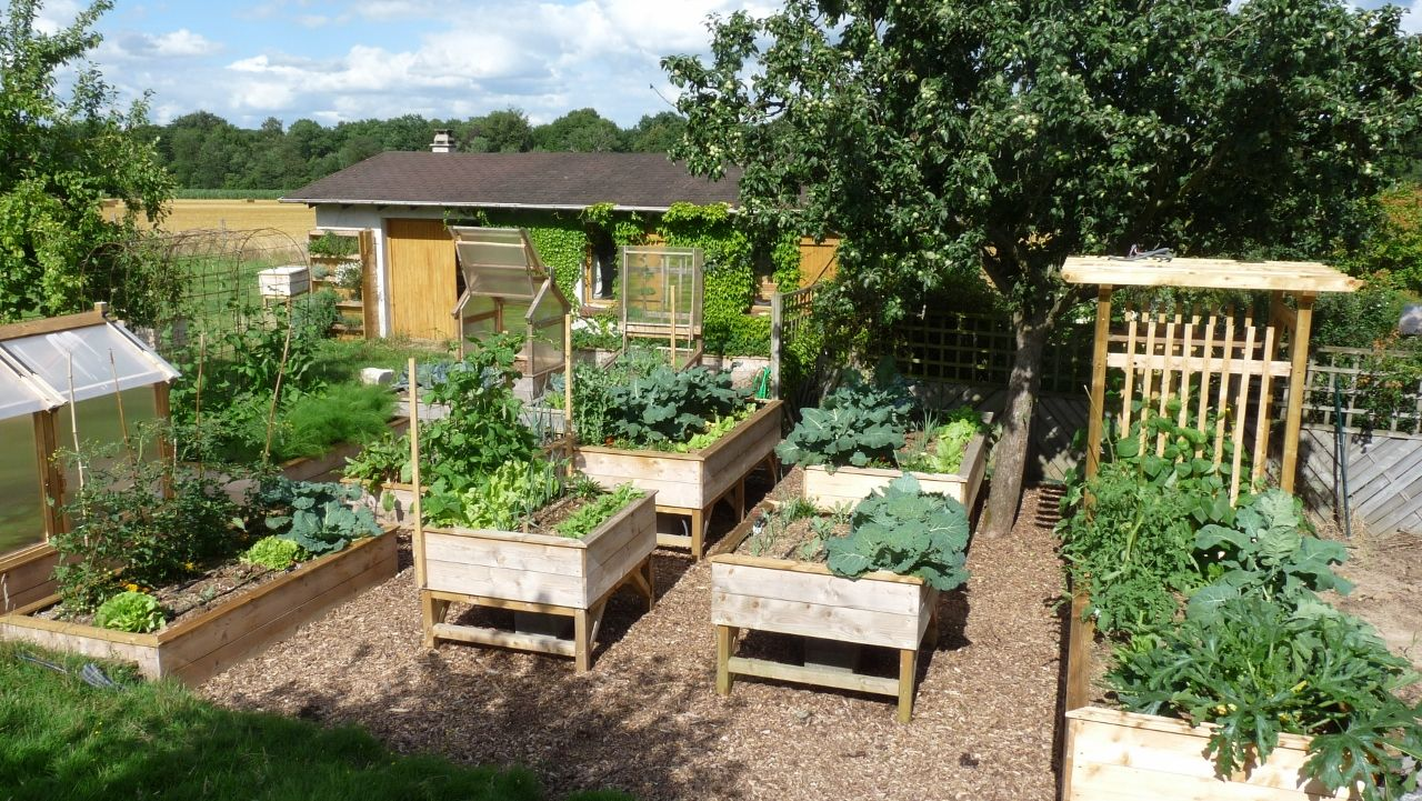 permaculture potager carr recherche google jardin box. Black Bedroom Furniture Sets. Home Design Ideas
