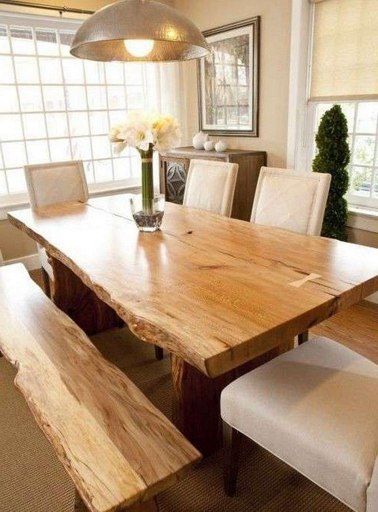 24 Stunning Natural Wooden Table Designs You Can Add To Your Collection Designideas Designsfo Wood Dining Room Table Live Edge Dining Room Dining Room Table