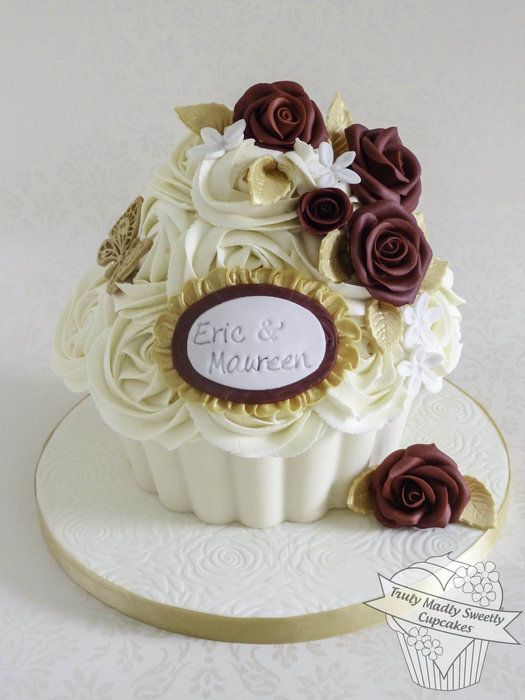 Golden Wedding Anniversary Giant Cupcake #giantcupcakecakes