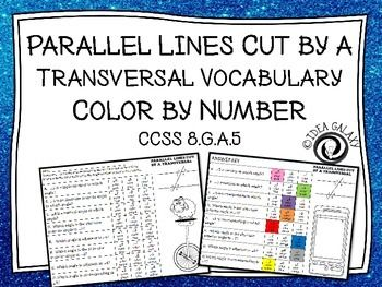 Parallel Lines Cut by a Transversal Color by Number