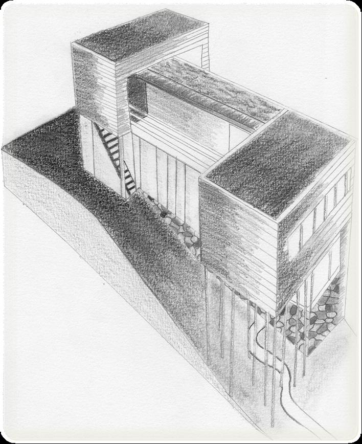 Villa Dall Ava de Rem Koolhaas TecnicaDibujo en lapiz grafito
