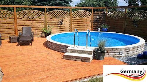 Holz Pool Halbversenkt   Google Suche Stahl, Outdoor Spaces, Pools, Pool  Ideas