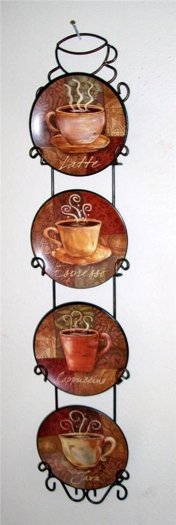 4 piece coffee house bistro cafe wall plate rack set decor interior kitchen home cafe wall - Coffee themed wall clocks ...