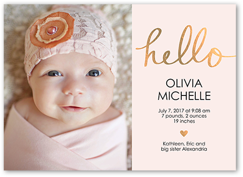 hello love baby girl 5x7 unique birth announcements