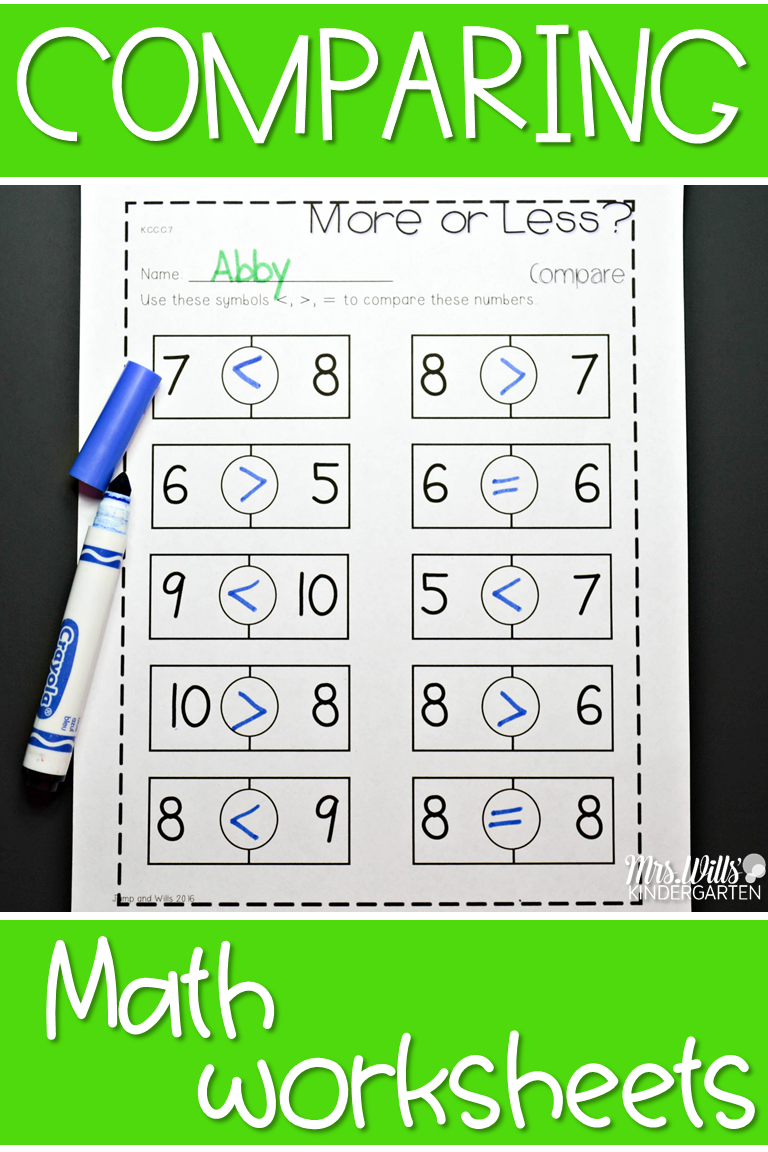 Comparing Numbers In Kindergarten Worksheet Students Will Compare The Tally Marks With This Activity Addition Kindergarten Math Kindergarten Math Units Math [ 1152 x 768 Pixel ]
