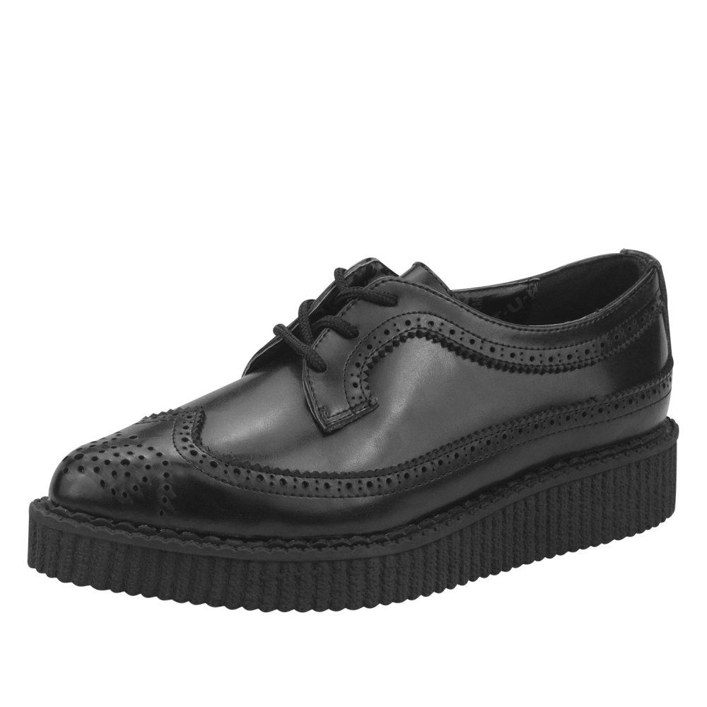 Black · T.U.K. Shoes BlackLeather Pointed Lace Up Brogue Brothel Creepers