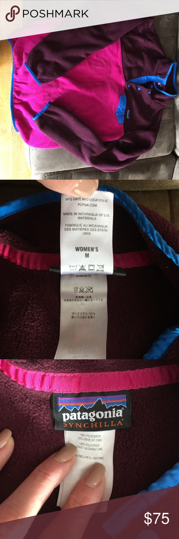 Patagonia synchilla snap pullover pink burgundy Gently used.. lots of life left!!! Patagonia Tops Sweatshirts & Hoodies