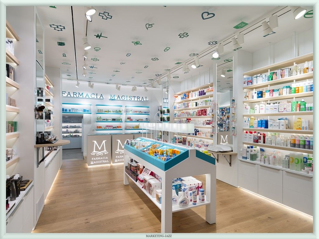Dise o interior 5 farmacia magistral murcia farmacia for Muebles gondola murcia