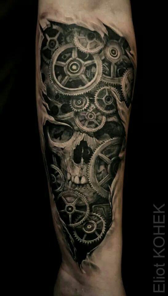 Skull, gears tattoo   Tattoos   Biomechanical tattoo ...