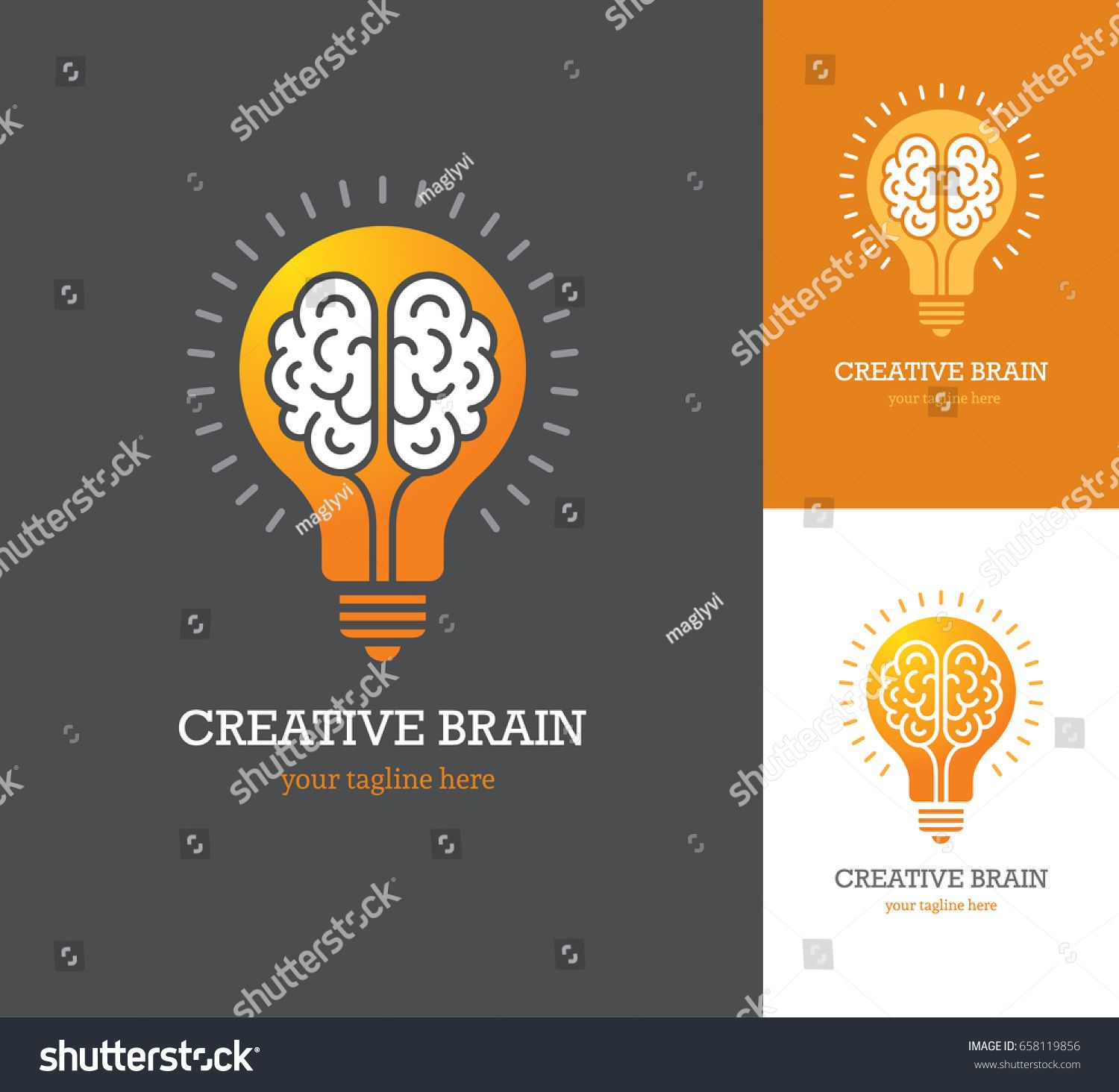 Bright logo with linear brain icon inside a light bulb Symbol of creative idea mind thinking
