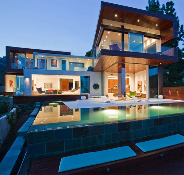 Hollywood Hills Contemporary Home Sunset Plaza Villa Contemporary House Mansions House Styles