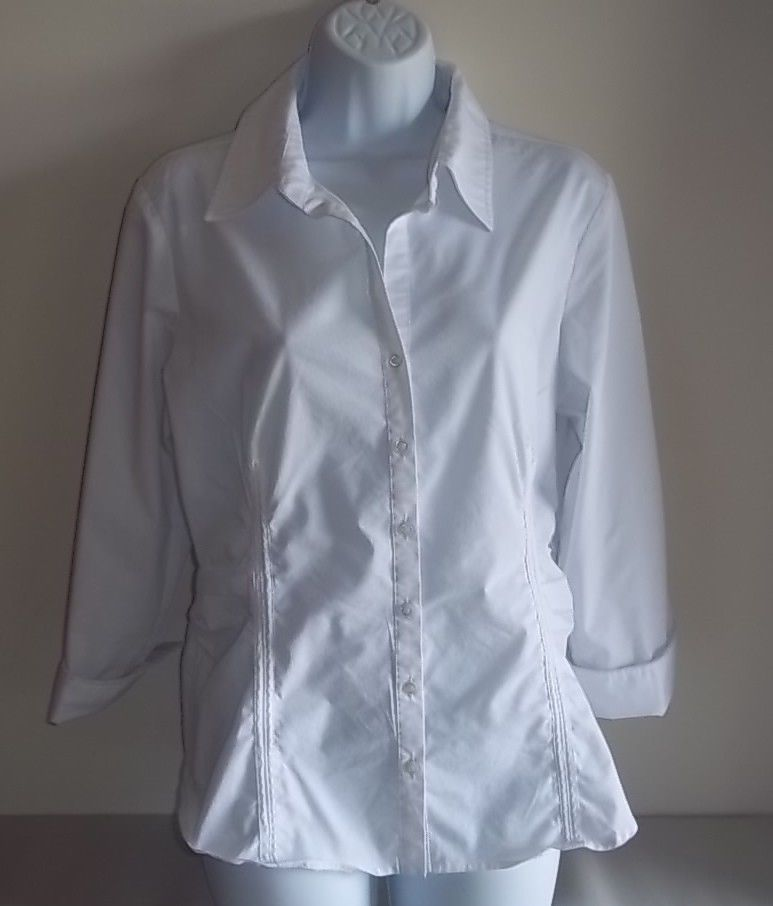 ef93fb3f908 Zac   Rachel Large White Blouse Shirt Button Down 3 4 Sleeve  ZacRachel   ButtonDownShirt  Career