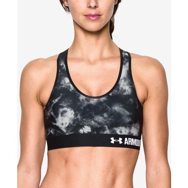 2edb8a7af61e0 Under Armour HeatGear Mid-Impact Printed Sports Bra ( 20) ❤ liked on  Polyvore featuring activewear