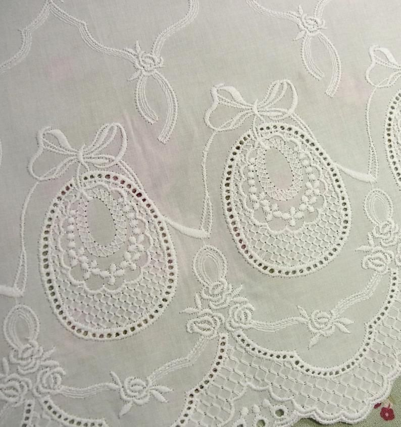 1yard Embroidery Cotton Eyelet Lace Trim 49.5cm Wide White Fabric French style #1617