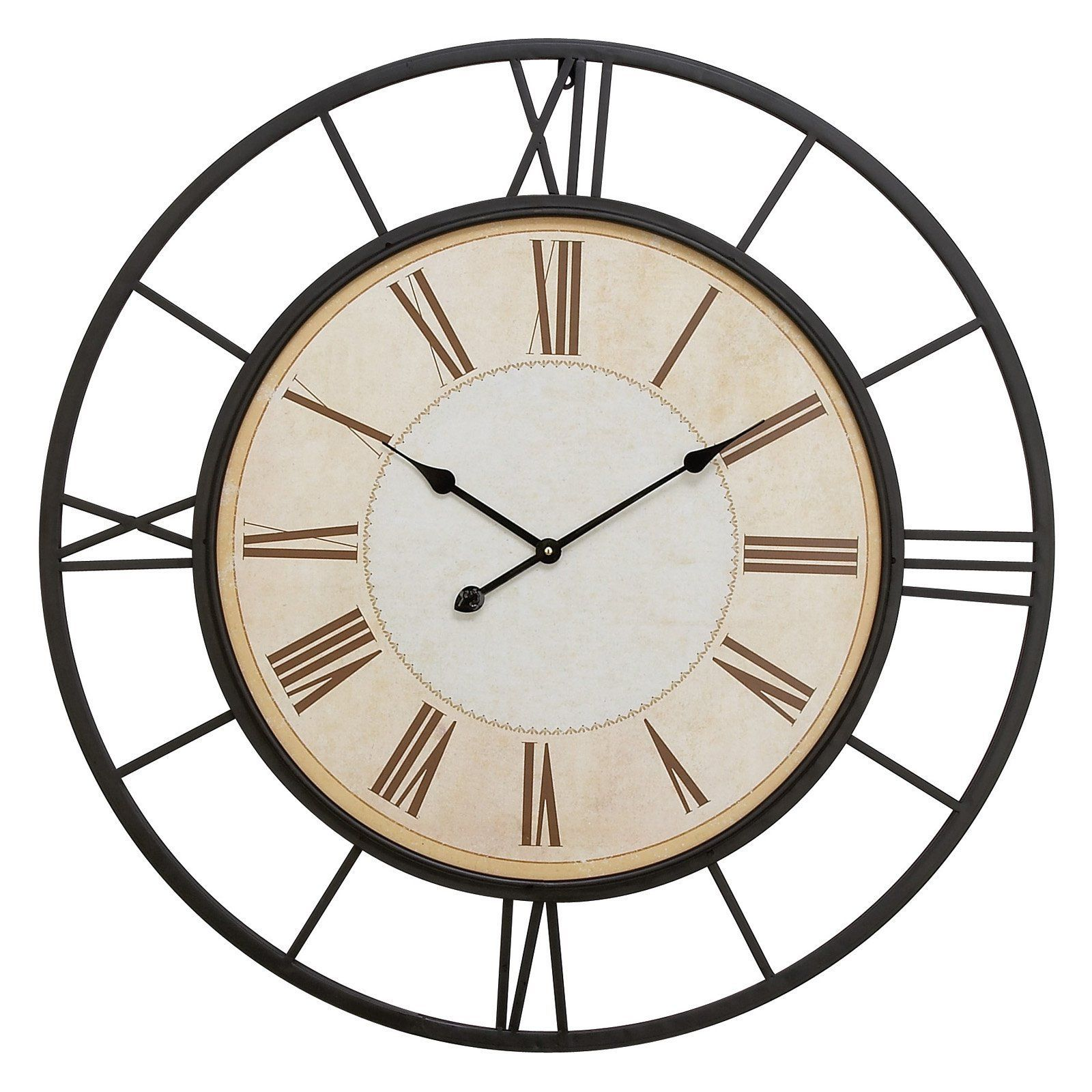Decmode round metal wall clock diam in from hayneedle