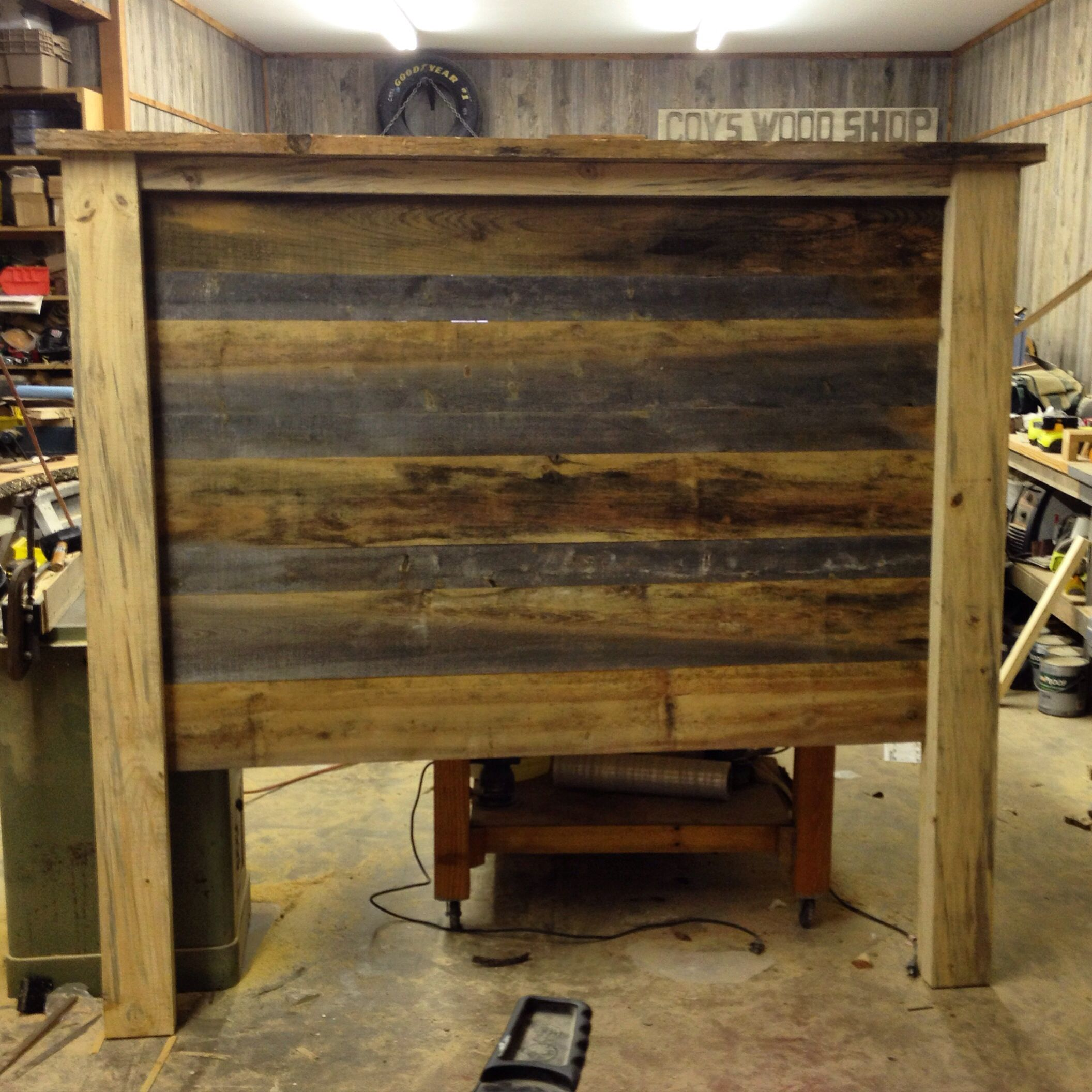 Rustic headboard made from Rough sawn and weathered pine. Facebook.com/BuiltByBittle