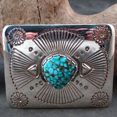 Navajo Jay Livingston No 8 Turquoise Belt Buckle