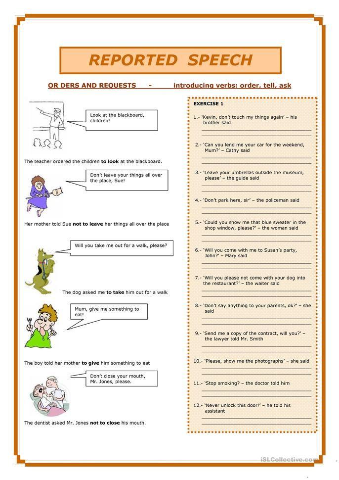Reported speech reading pinterest worksheets english class teacher reported speech ibookread Read Online