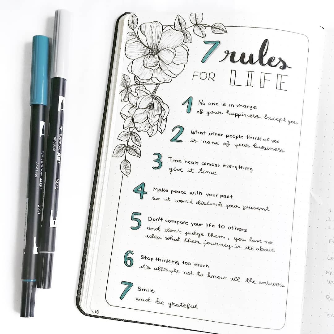 "rosana • bullet journal on Instagram: ""I saw this 7 rules for life on pinterest and I had to incorporate it into my bujo! I just made a few changes and I really hope to be able…"""