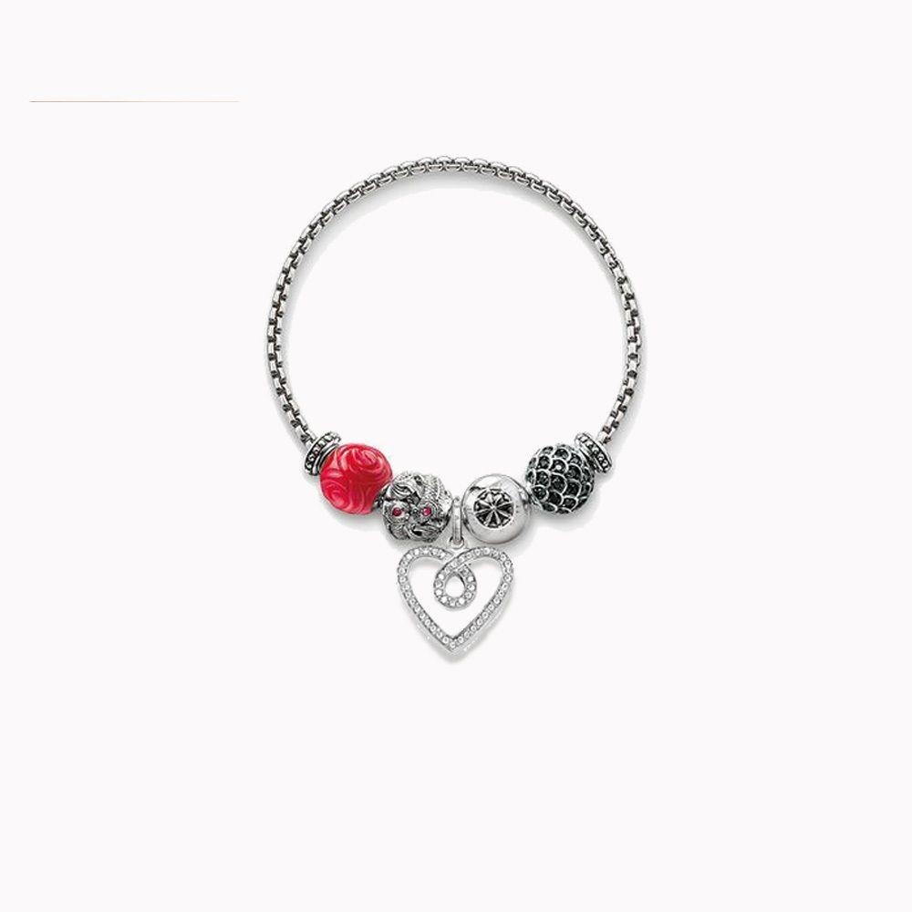 Thomas Style Four Kind Of Karma Beads Bracelets With A Heart Charm Ts European