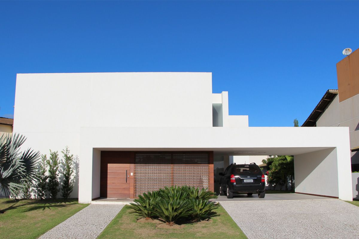 Fachadas de casas brancas minimalistas veja modelos for Casas tipo minimalista