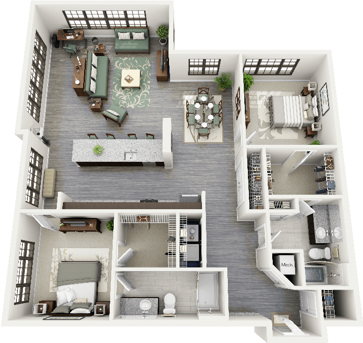 Garage Apartment Plans 2 Bedroom: 3D Floorplans