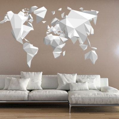 Gray world map poster large print modern home within wall art image result for origami wall art mr kitchen pinterest wall modern world map wall art gumiabroncs Image collections