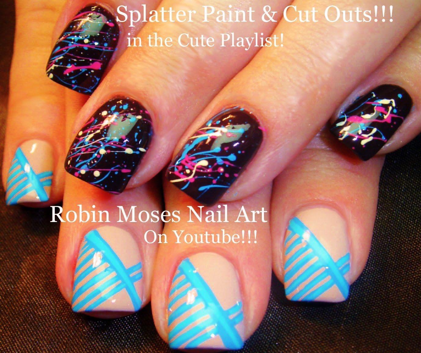 Nail Art Tutorial   DIY Easy Splatter Paint & Blue Stripe Nail ...