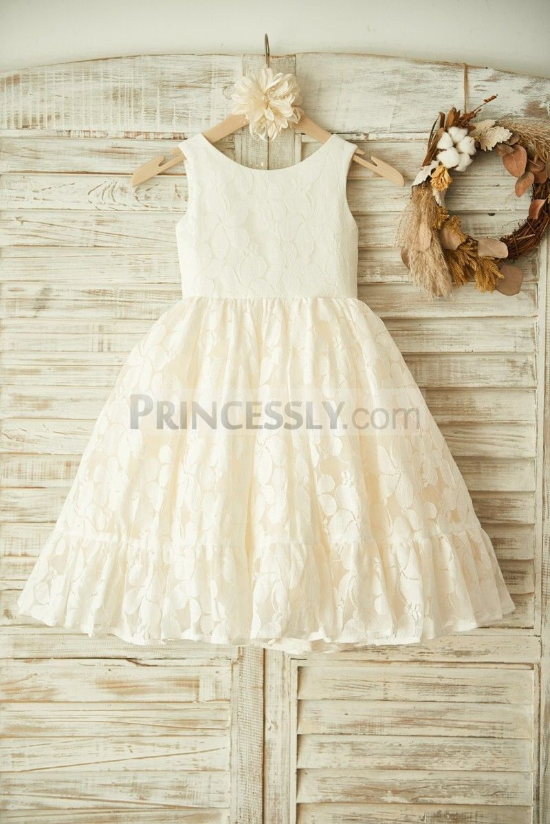 Ivory Lace Champagne Tulle Wedding Flower Girl Dress | Vestidos de ...