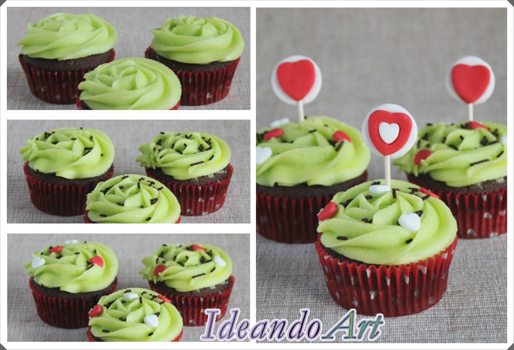 Tutorial decoración de cupcakes de chocolate y melón para San Valentín. By IdeandoArt.