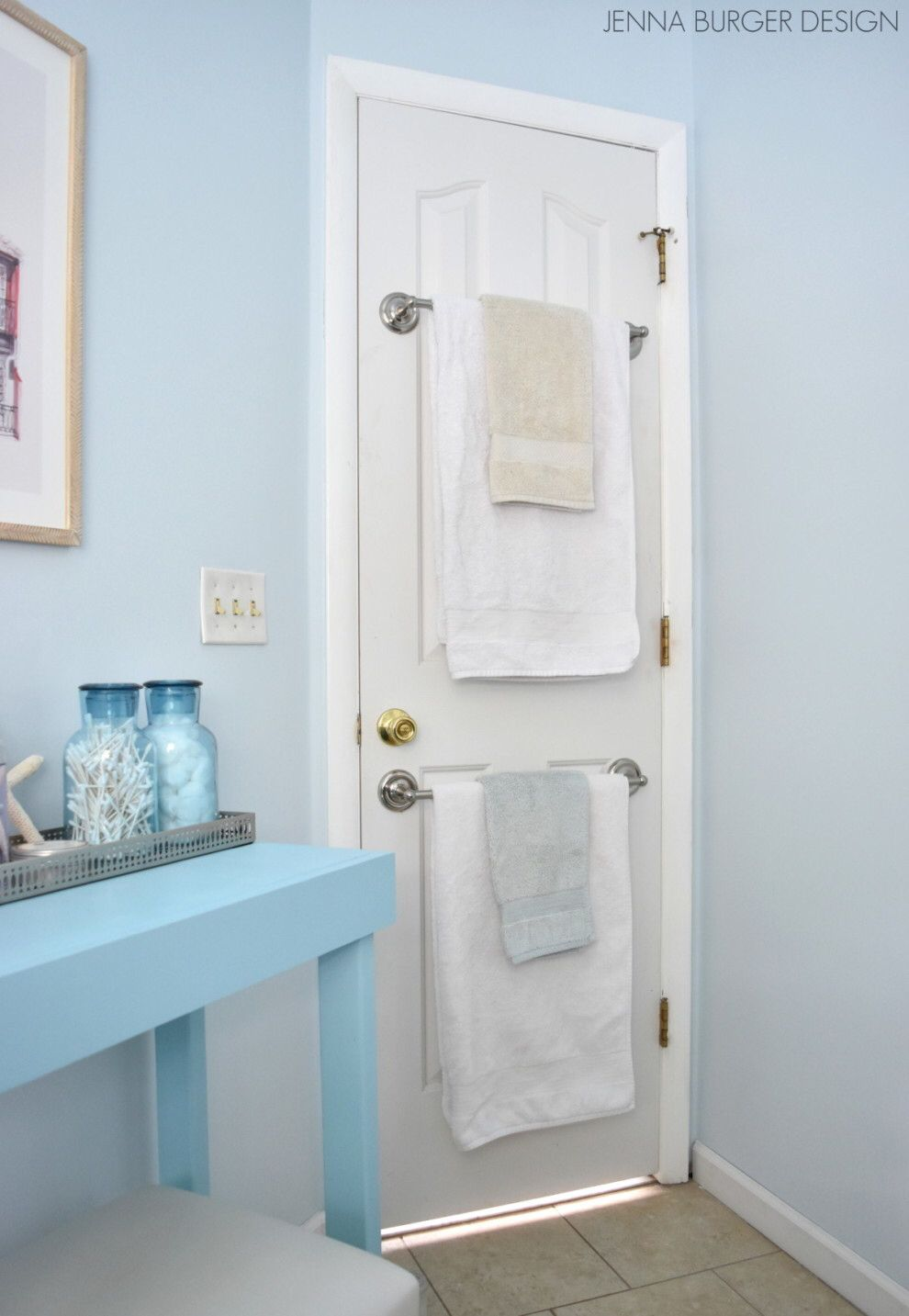 Hang a bar instead of using a hook so that your towels aren\'t ...