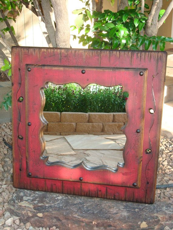 Red White   Blue Decorative Wood Mirror  Wood framed distressed mirror   Wall decor  Country style wood mirror  Rustic mirror  Vanity Mirror. Red White   Blue Decorative Wood Mirror  Wood framed distressed