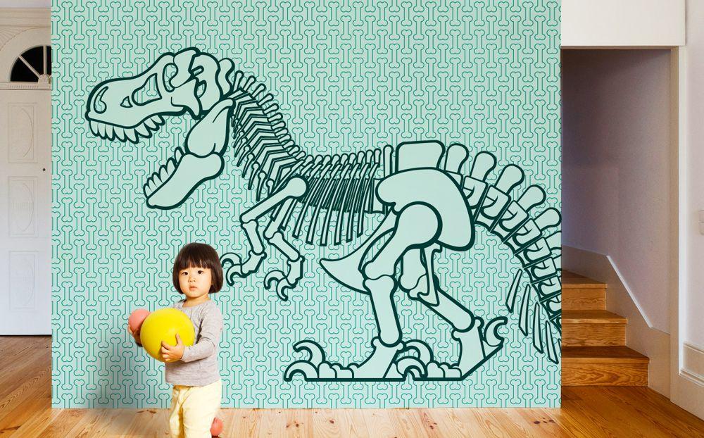 New giant wallpaper mural dinosaur for kids room by e glue for Dinosaur wall decals for kids rooms