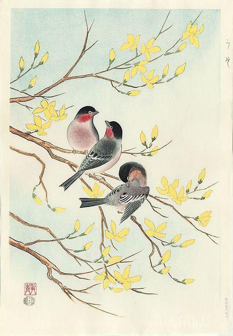 Artmemo Oiseaux En Estampes Japonaises Bouvreuils Estampe