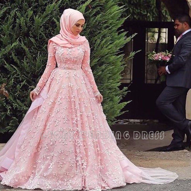 b9991418c7e Find a Romantic Pink Lace Muslim Wedding Dresses Long Sleeve Ball Gown  Hijab Wedding Dress Muslim Bridal Dresses Wedding Gowns Online Shop For U !