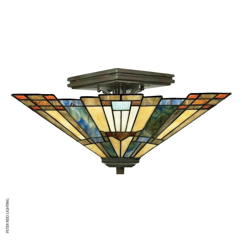 Inglenook semi flush ceiling light from the quoizel tiffany collection