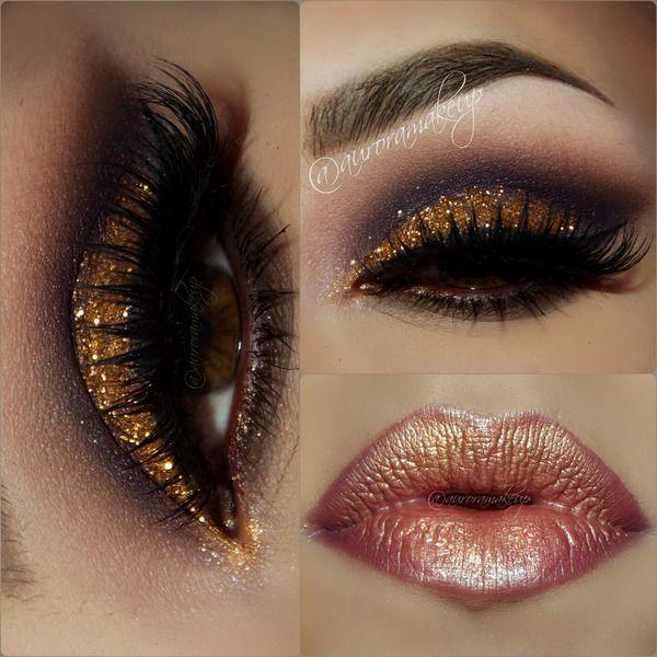 Gold Glitter Dramatic Smokey Eye Makeup Lashes Bronze Lips