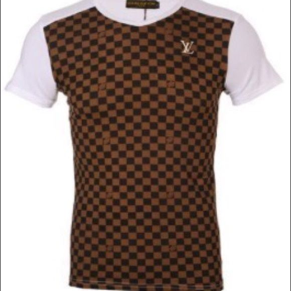 f3091f82 Louis Vuitton Mens Check T-Shirt Louis Vuitton Shirt in Brown Checkered on  a white shirt. A cool change to your regular white tee.