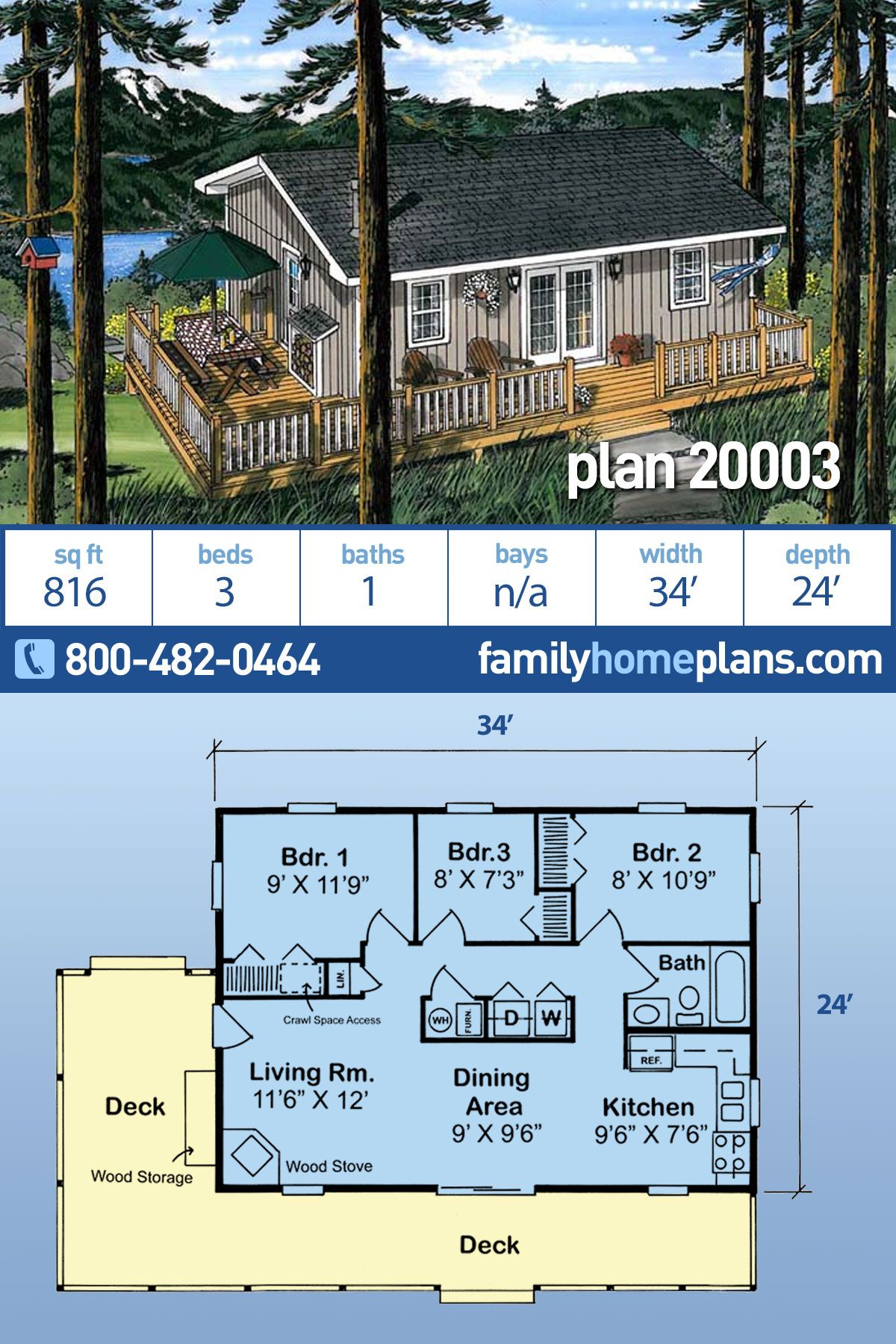 Affordable Small Home Floor Plan with 816 Sq Ft 3 Bedrooms 1 Bath and Wrap Around Deck