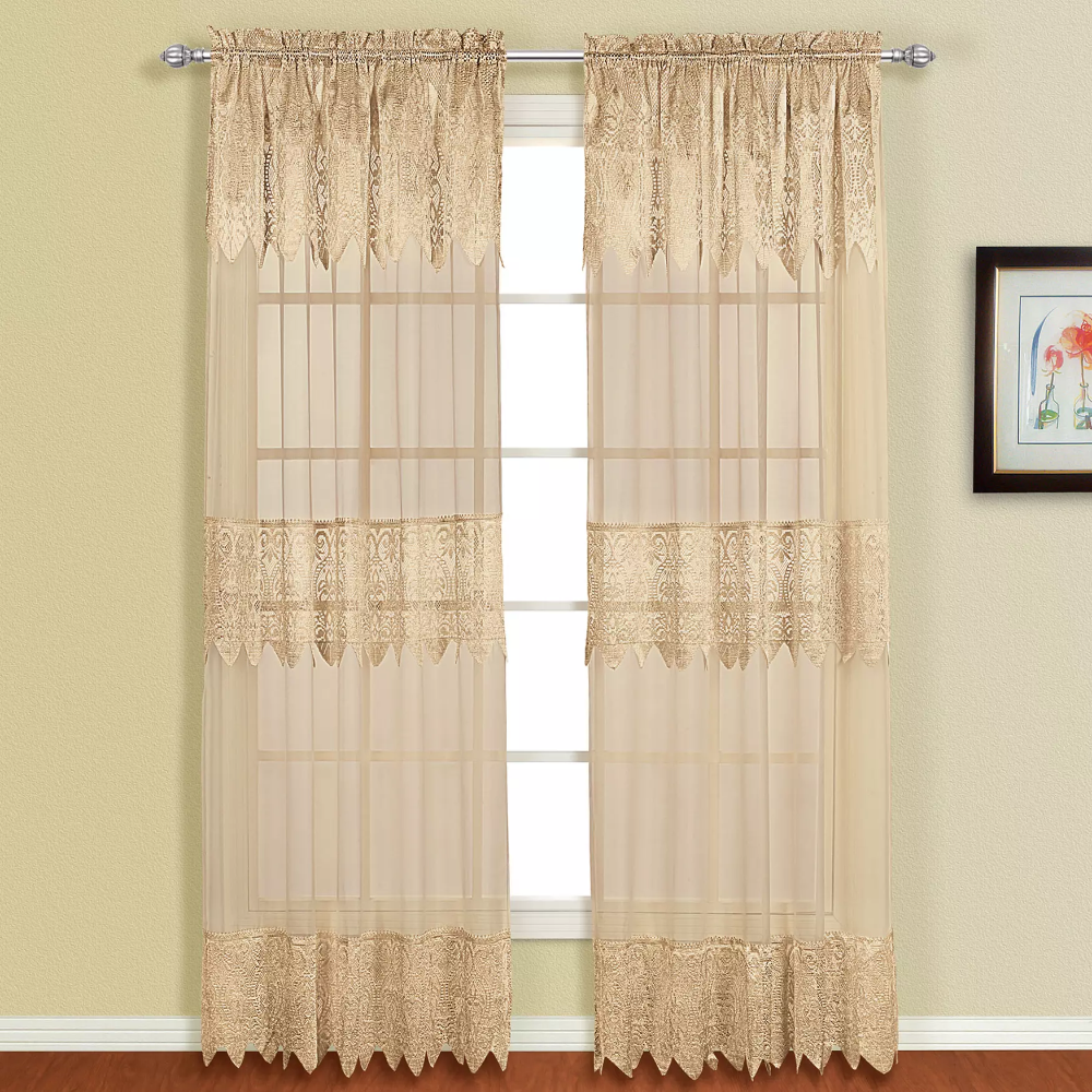 Valerie Panel With Attached Valance Sheer Curtains Brylane Home Panel Curtains Curtains Voile Panels
