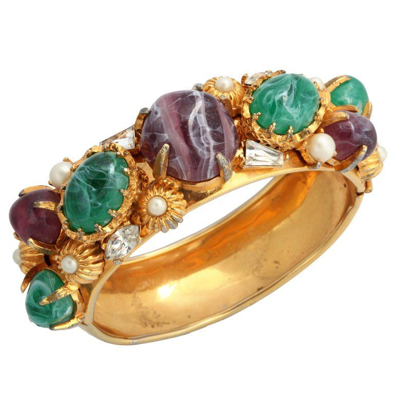 hattie carnegie | Hattie Carnegie Wide Goldtone Bangle with Large Stones at 1stdibs