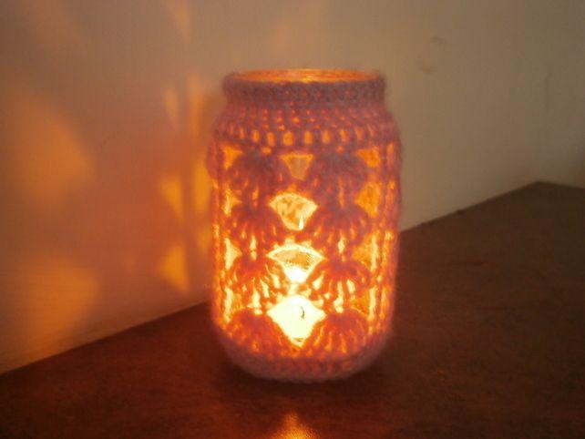 Soft Pink Wool Candle Holder Jar £3.00