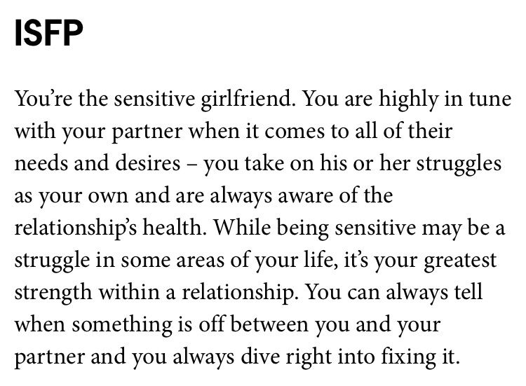 What kind of girlfriend you are based on your MBTI type  ISFP