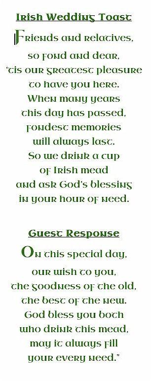 An Irish Wedding Toast Reallly Like This Idea Wedding Ideas