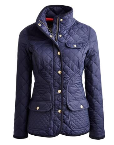 Joules Womens Coat, Navy.                     Meet our latest quilty pleasure – truly our most premium quilted jacket yet. Crafted from the finest quality fabric and tailored for a made-to-measure feel, it has been designed to give you an elegant country look. We couldn't resist adding a hand-drawn printed lining to really lift it out of the ordinary.