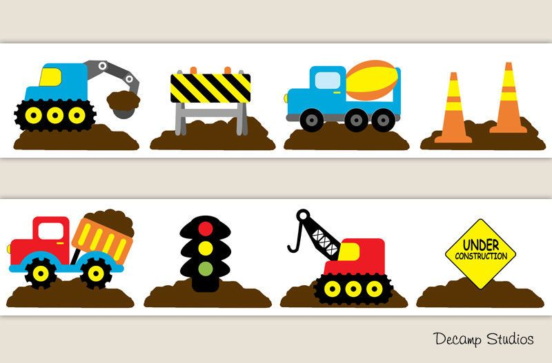 Construction Truck Nursery Decals Baby Boy Wallpaper Border Wall Art Stickers Decampstudios