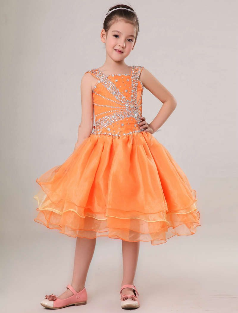 Colorful Handmade Beading Orange Flower Girl Dress Flower Girl