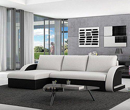 Muebles bonitos – sofá cama kyra con chaise longue universal negro ...